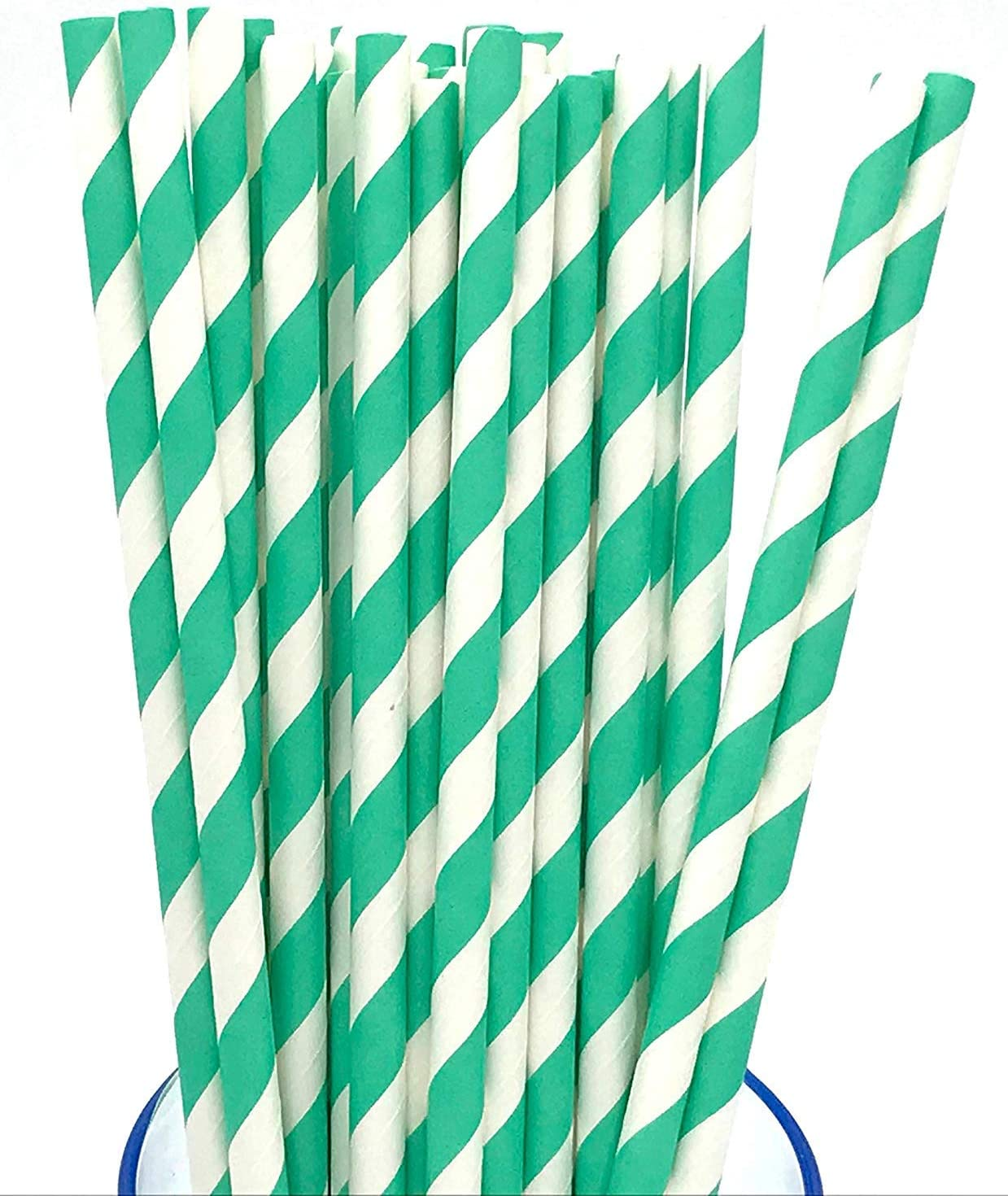Party Photo Props Techrace Paper Straws Disposable Colorful Stripes Paper Drinking Straws for Birthday Christmas Baby Shower,50 Pack Celebration Parties Wedding