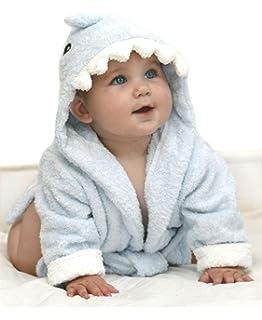 2cdafbf7fef7 URAQT Cute Animal Baby Bathrobe Soft Hooded Towels Infant Wrap Grey ...