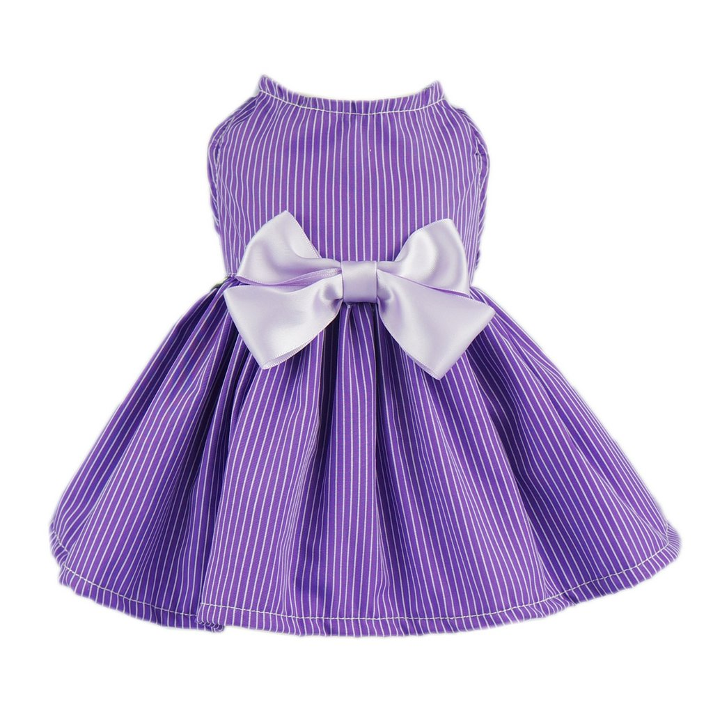 Fitwarm Elegant Dog Dress Pet Clothes Striped Shirts Cat Apparel, Purple, Large