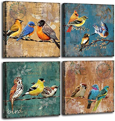 Amazon Com Bird Canvas Wall Art For Bedroom 12 X 12 4 Pieces Rustic Wall Decor Animal Picture Framed Artwork Vintage Theme Prints Paintings Ready To Hang For Home Bathroom Kitchen Office Decorations