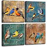 Bird Canvas Wall Art for Bedroom 12 x 12 4 Pieces Rustic Wall Decor Animal Picture Framed Artwork Vintage Theme Prints…