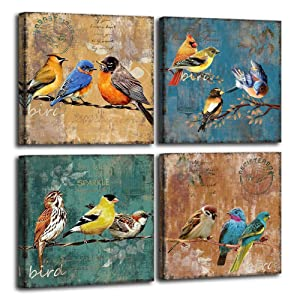 Bird Canvas Wall Art for Bedroom 12 x 12 4 Pieces Rustic Wall Decor Animal Picture Framed Artwork Vintage Theme Prints Paintings Ready to Hang for Home Bathroom Kitchen Office Decorations