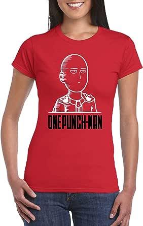 Red Female Gildan Short Sleeve T-Shirt - One Punch Man design