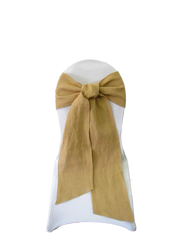 LA Linen Natural Burlap Chair Bow Sashes, 7 by 108-Inch, 100-Pack 7X108burlapnat100