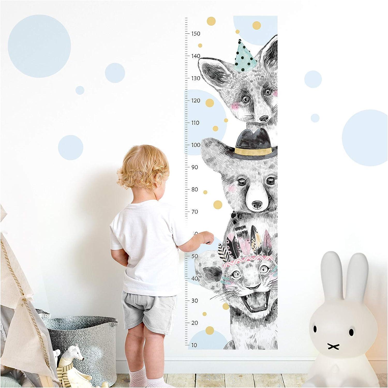 Little Deco DL346 Sticker mural pour chambre denfant Motif lion Bleu clair 150 cm