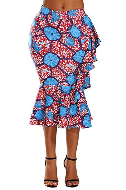 38c9854117 VIGVOG Women's Ethnic African Print Pencil Skirt Pull-on Midi Bodycon Skirt  at Amazon Women's Clothing store: