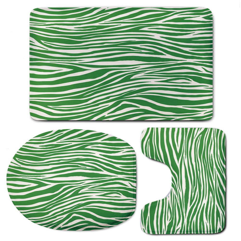 3 Piece Bath Mat Rug Set,Green,Bathroom Non-Slip Floor Mat,Zebra-Skin-Pattern-in-Vibrant-Green-Color-Wildlife-African-Safari-Animal-Print-Decorative,Pedestal Rug + Lid Toilet Cover + Bath Mat,Fern-Gre