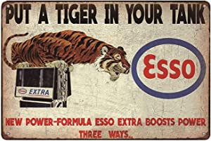 """Esso Put a Tiger in Your Tank, Vintage Look Metal Wall Decor Garage Sign 12"""" x 8"""""""
