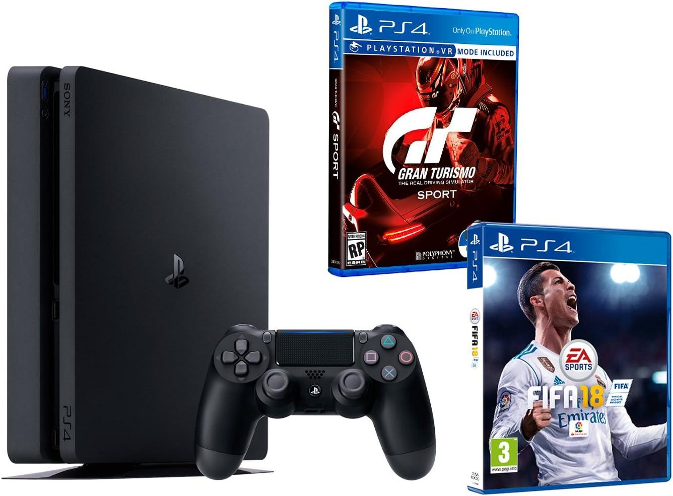 PS4 Slim 1Tb Negra Playstation 4 Consola - Pack 2 Juegos - FIFA 18 + Gran Turismo Sport GT Sport: Amazon.es: Videojuegos