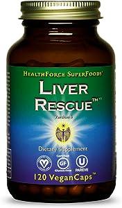 HealthForce SuperFoods Liver Rescue - 120 VeganCaps - All-Natural Liver Regenerator Supplement with Milk Thistle & Dandelion Root - Organic, Gluten Free - 60 Servings