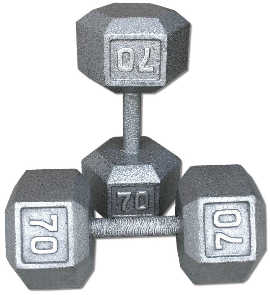 Pair 70 Lb. Cast Iron Hex Dumbbells