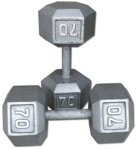 Par 70 kg, pesas hexagonales de hierro fundido.