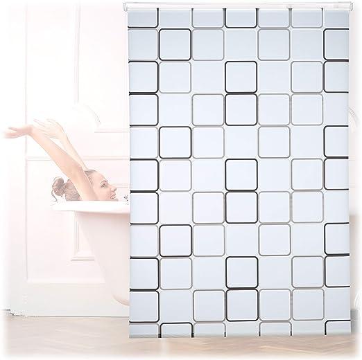 Relaxdays, Semitransparente, 140x240 cm Cortina de Ducha Square, A Cuadros, Soporte de Techo, PVC-Plástico-Aluminio: Amazon.es: Hogar