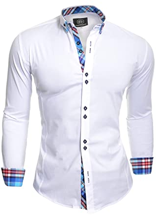 6b639694a D R Fashion Smart Shirt with Classic Collar Slim Fit Italian Design White
