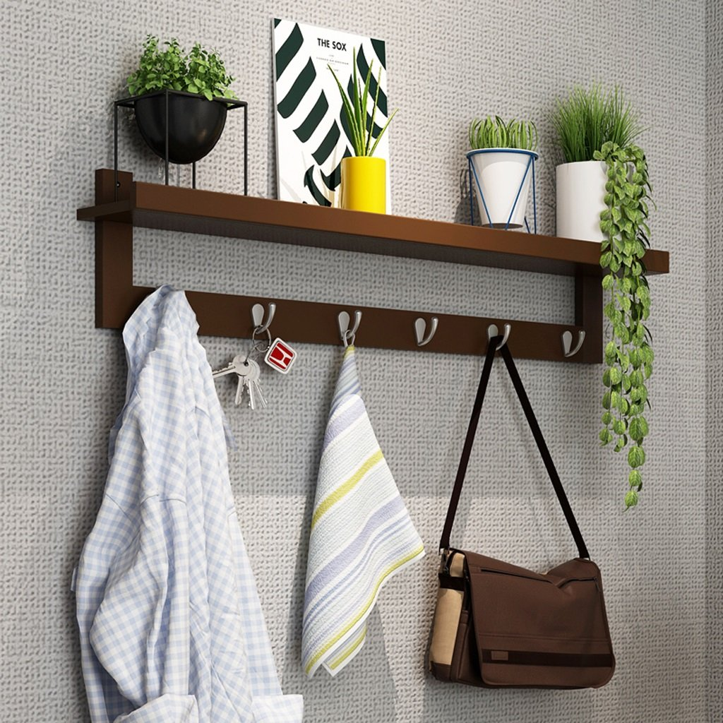 Wall Shelf Hanging Hanger Sleeve Hood Hook Door Storage Wall Storage Tower Walnut Color ( Size : 87cm(6 hook) )