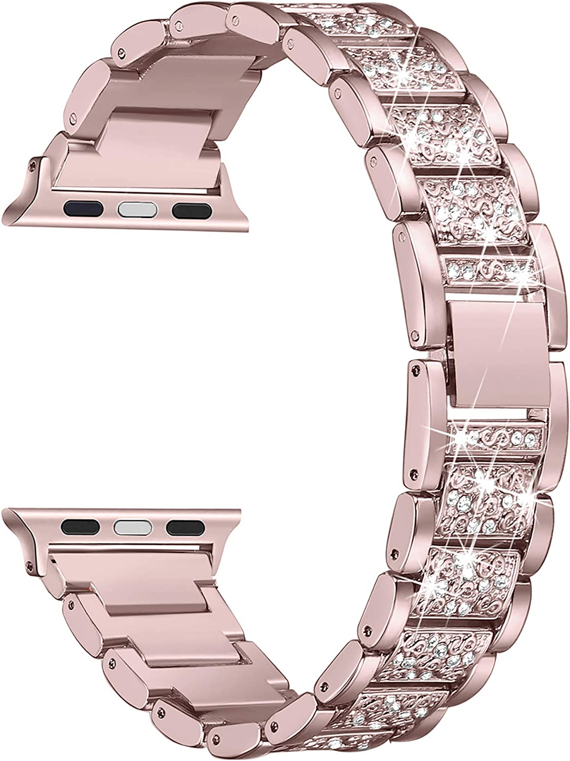 Secbolt Bling Bands Compatible with Apple Watch Band 42mm 44mm Women iWatch SE Series 6/5/4/3/2/1, Dressy Jewelry Metal Bracelet with Rhinestones, Rose Gold