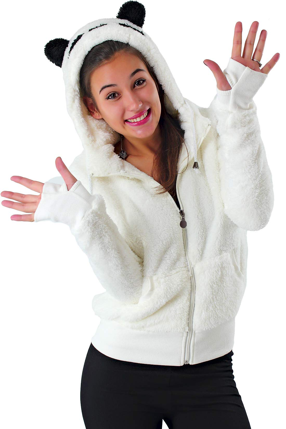 48780bfb8330 Felpa Donna con Cappuccio Orecchie Orso Panda Pelliccia Animal Zip Giacca  Kawaii S35 product image