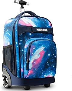 WEISHENGDA 18 inches Wheeled Rolling Backpack for Adults and School Students Books Travel Bag, Blue Sky