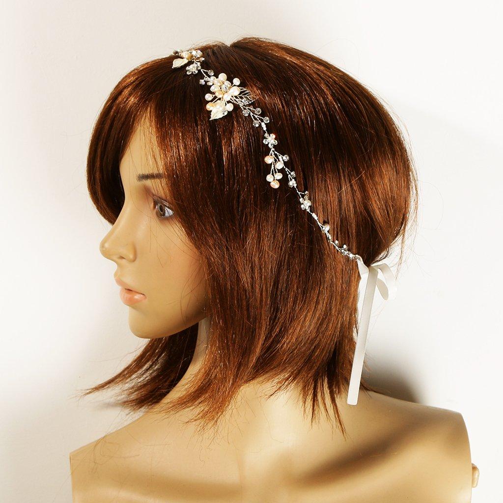 Magideal Braut Haarband Perlen Stirnband Strass Haarreif Hochzeit