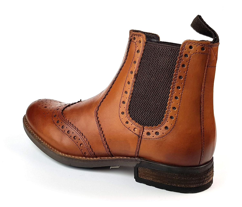 a2e985d995e Roamers Mens Chelsea Gusset Brogue Ankle Boots Tan