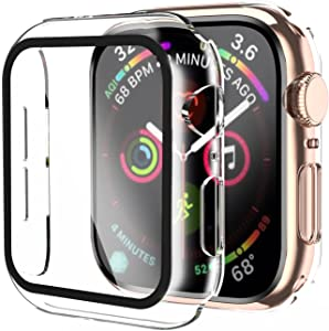Smiling Case Compatible with Apple Watch Series 6/SE/Series 5/Series 4 40mm with Built in Tempered Glass Screen Protector- All Around Hard PC Case Overall Protective Cover-Clear