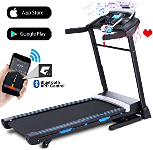 ANCHEER Folding Treadmill, 3.25HP Automatic Incline Treadmill with Bluetooth Speaker