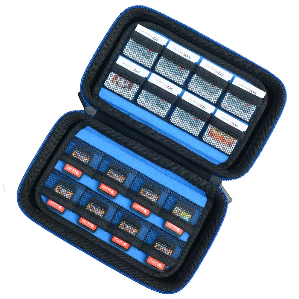 Game Card Storage Holder Hard Case for New Nintendo 3DS, 2DS XL, DS and Nintendo Switch or PS Vita - Black/Blue: Video Games