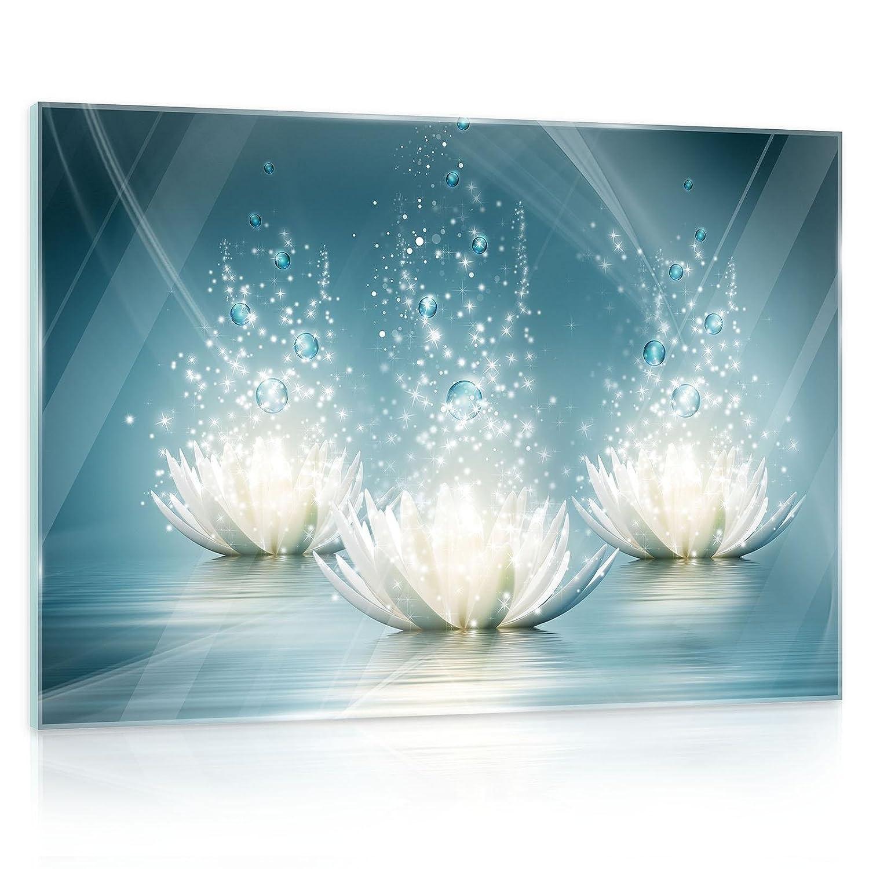 DekoShop Glasbild Echtglas Glasfoto Wandbild Lilie AMDGT10224G5 G5 G5 G5 (80cm. x 60cm.) Real Glass Picture Print   Abstraktion Blau Lilie Kunst Design B077RWG829 Fensterbilder 04267b