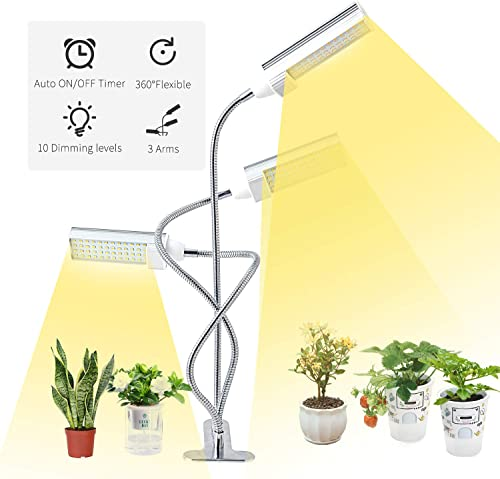 LED Grow Light for Indoor Plants, ERAVSOW Light Full Spectrum Growing Lamp with Timer, Tri Head Plant Grow Lamps with Adjustable Gooseneck, 3 Switch Modes 10 Brightness Settings