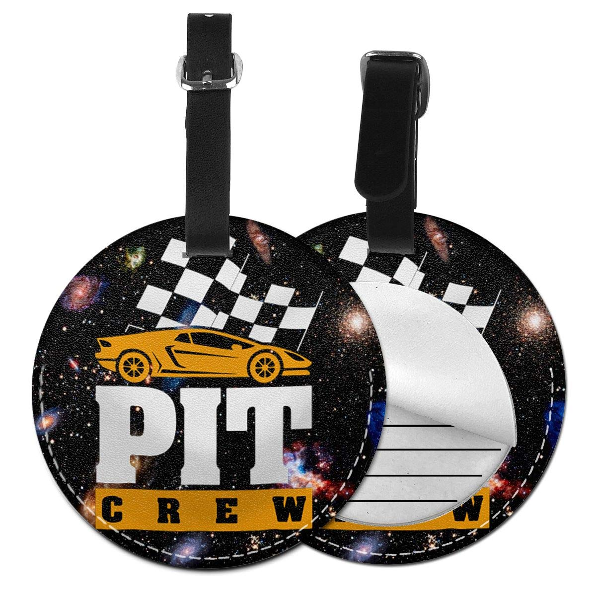 Free-2 Pit Crew Checkered Flag Cool Car Racing Luggage Tag 3D Print Leather Travel Bag ID Card