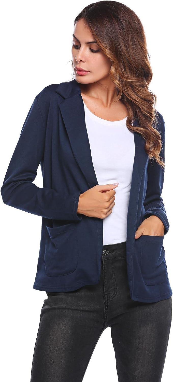 Meaneor Chaqueta Corta Manga Larga Blazer de Elegante Oficina Femenina Capa Cazadoras Abrigos para Mujer