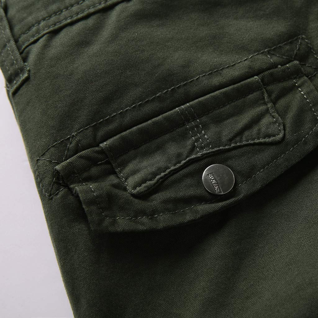 LEERYAAY Cargo&Chinos Men's Summer Outdoors Casual Loose Multiple-Pockets Cotton Overalls Beach Shorts ArmyGreen by LEERYAAY (Image #3)