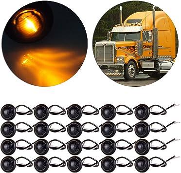 "20 X 3//4/"" Round Amber LED Bullet For Truck Trailer Side Clearance Marker Light"