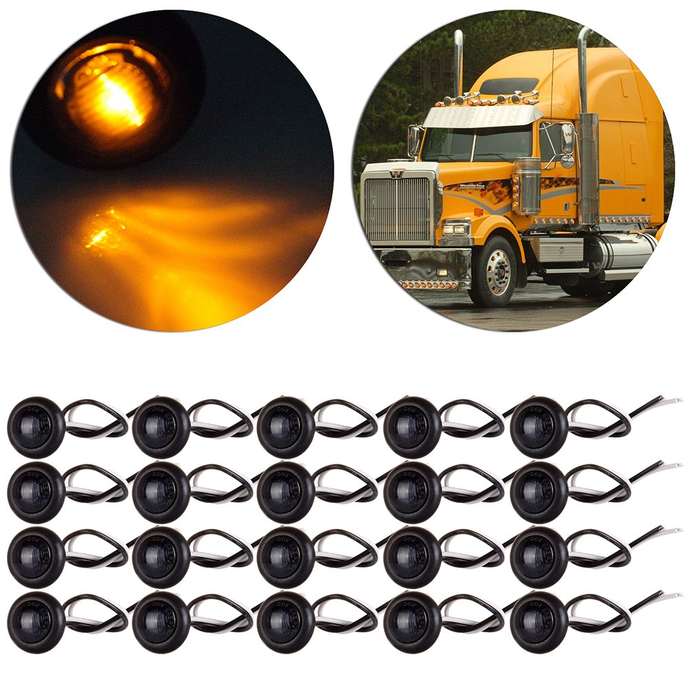 CCIYU 20 pcs Amber 3/4 inch LED Bullet Light Truck Trailer Clearance Lamp Boat SUV ATV Bike Trailer Marine Round Side Marker Light 806520-5210-1754321