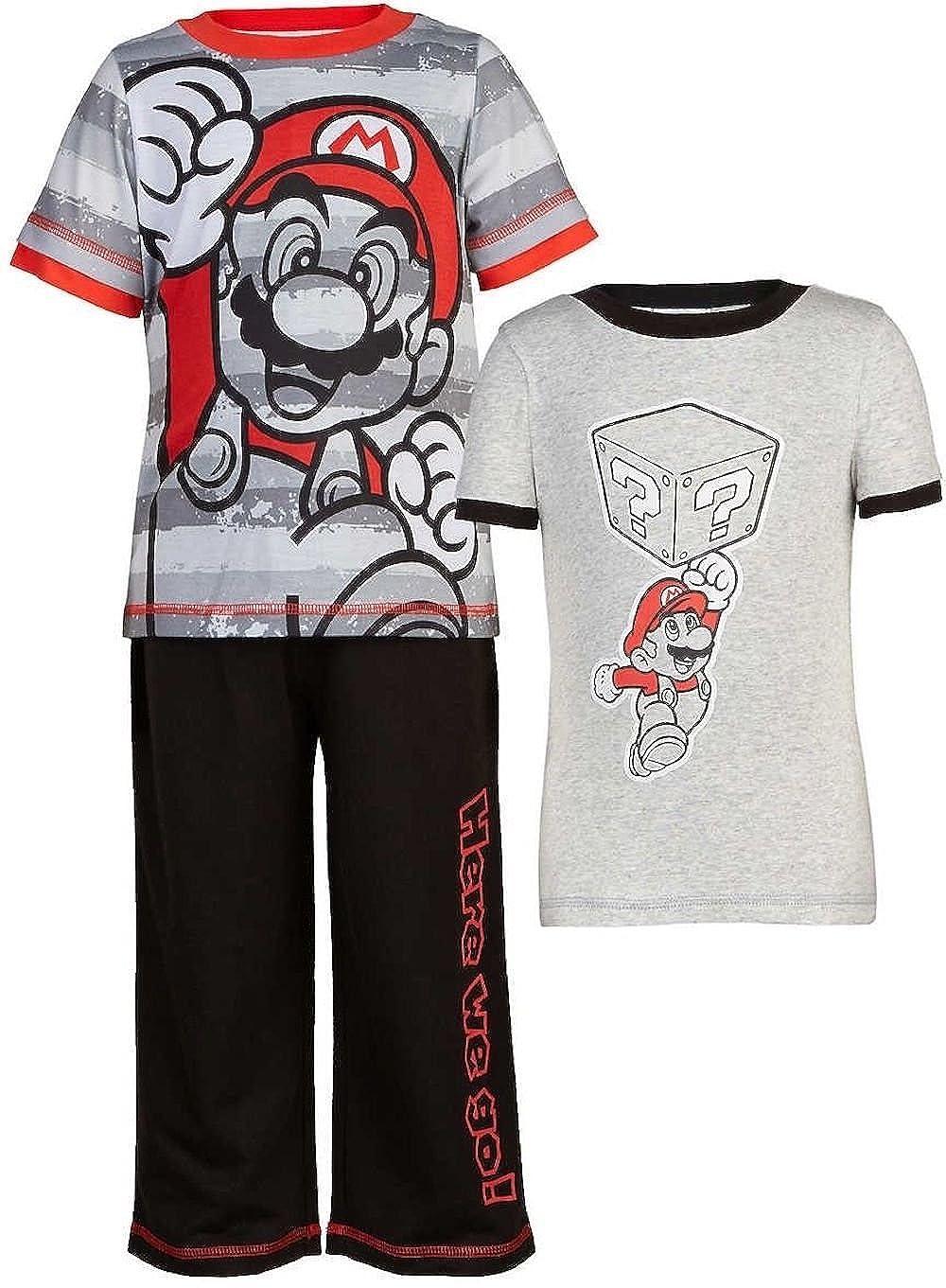 Super Mario Bros. Boys' 3 pc Pajamas Set Size 5