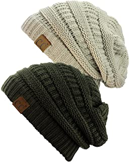 b5d11c361f34c C.C Trendy Warm Chunky Soft Stretch Cable Knit Beanie Skully