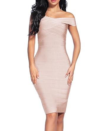 ff3a87a9dcb Madam Uniq Women's Bandage Dress Off The Shoulder Bodycon Dresses Club (XS,  Beige)