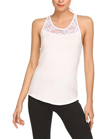 856c50b22101 Meaneor Women Casual Sleeveless Lace Patchwork Racerback Tank Top:  Amazon.co.uk: Clothing