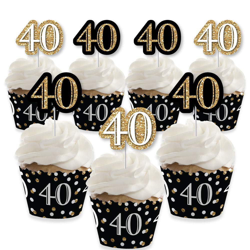 Adult 40th Birthday - Gold - Cupcake Decoration - Birthday Party Cupcake Wrappers and Treat Picks Kit - Set of 24 by Big Dot of Happiness