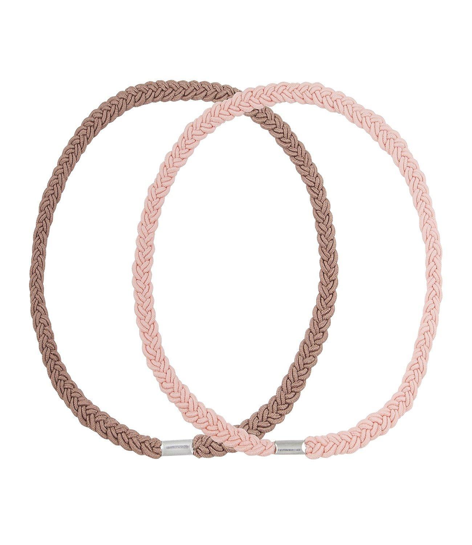 SIXFestival 2er Set Doppelpack doppelt geflochtene Haarbänder Kopfband in Braun und Nude/Rosa (252-846)