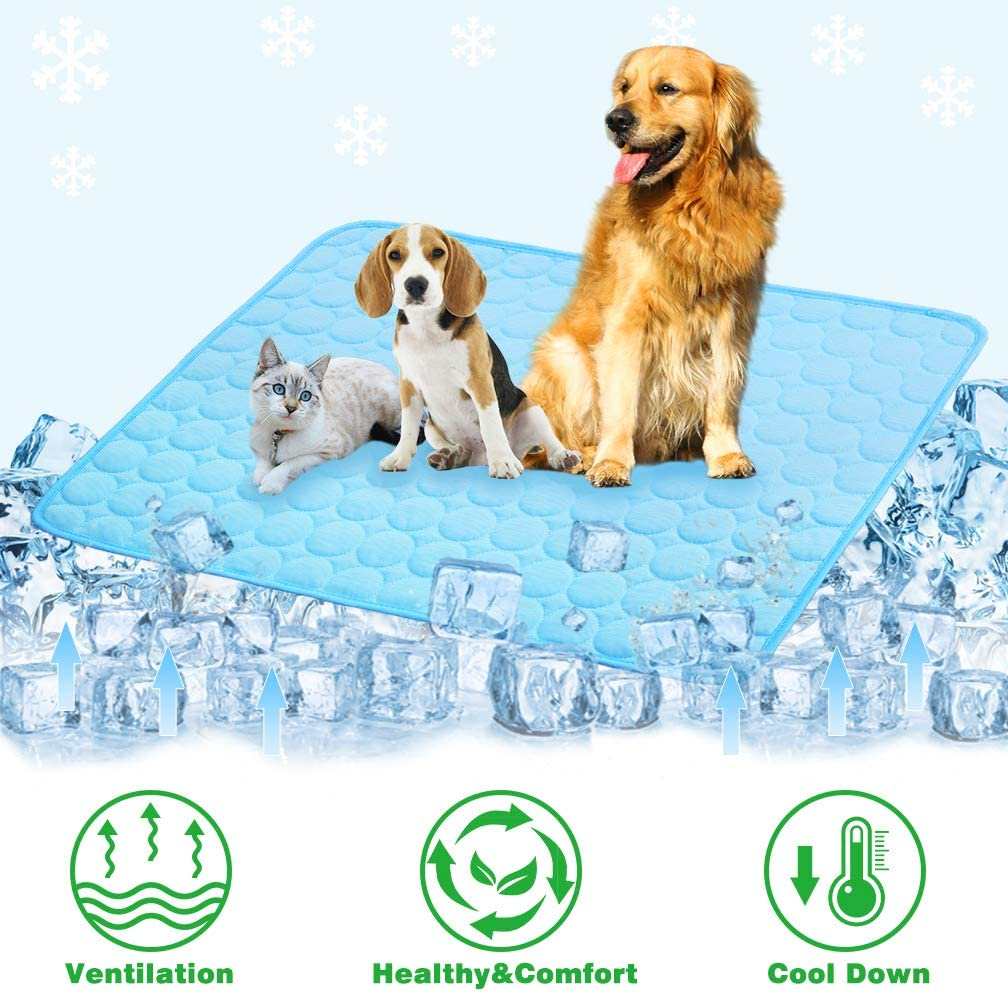 VeMee Summer Cooling Mat for Dogs Cats Ice Silk Self Dog Cooling Mat Breathable Pet Crate Pad Portable & Washable Pet Cooling Blanket for Outdoor or Home