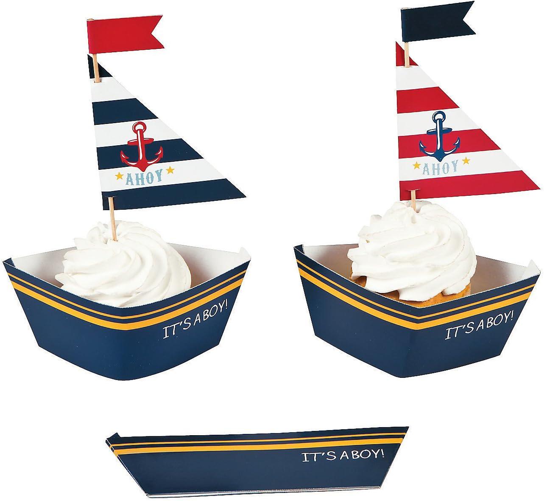 Fun Express Nautical Baby Boy Shower Cupcake Collars and Picks Decoration Set - 50 Units