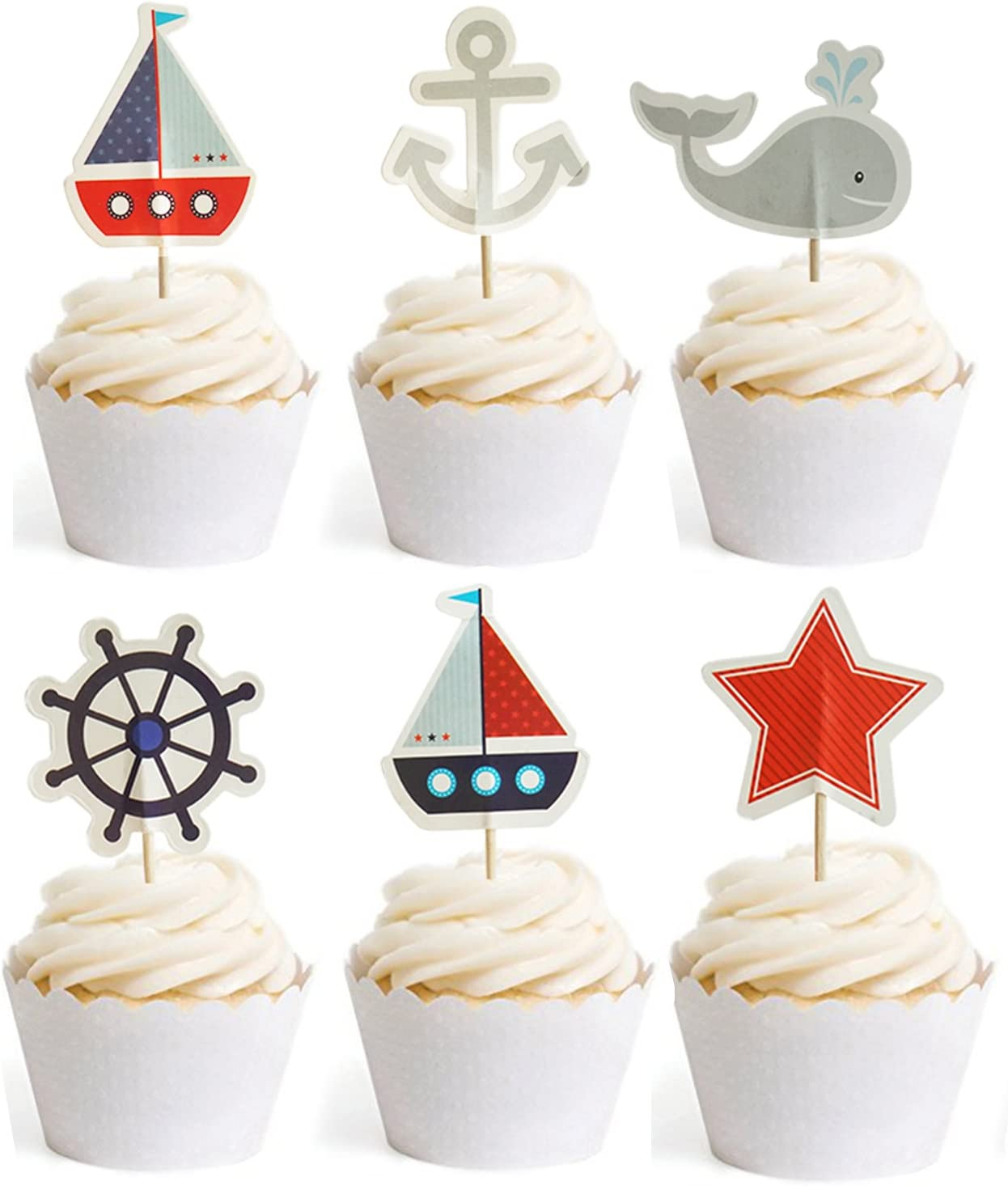 and Nautical Cupcake Wrappers for Kids Birthday Parties Baby Showers Nautical