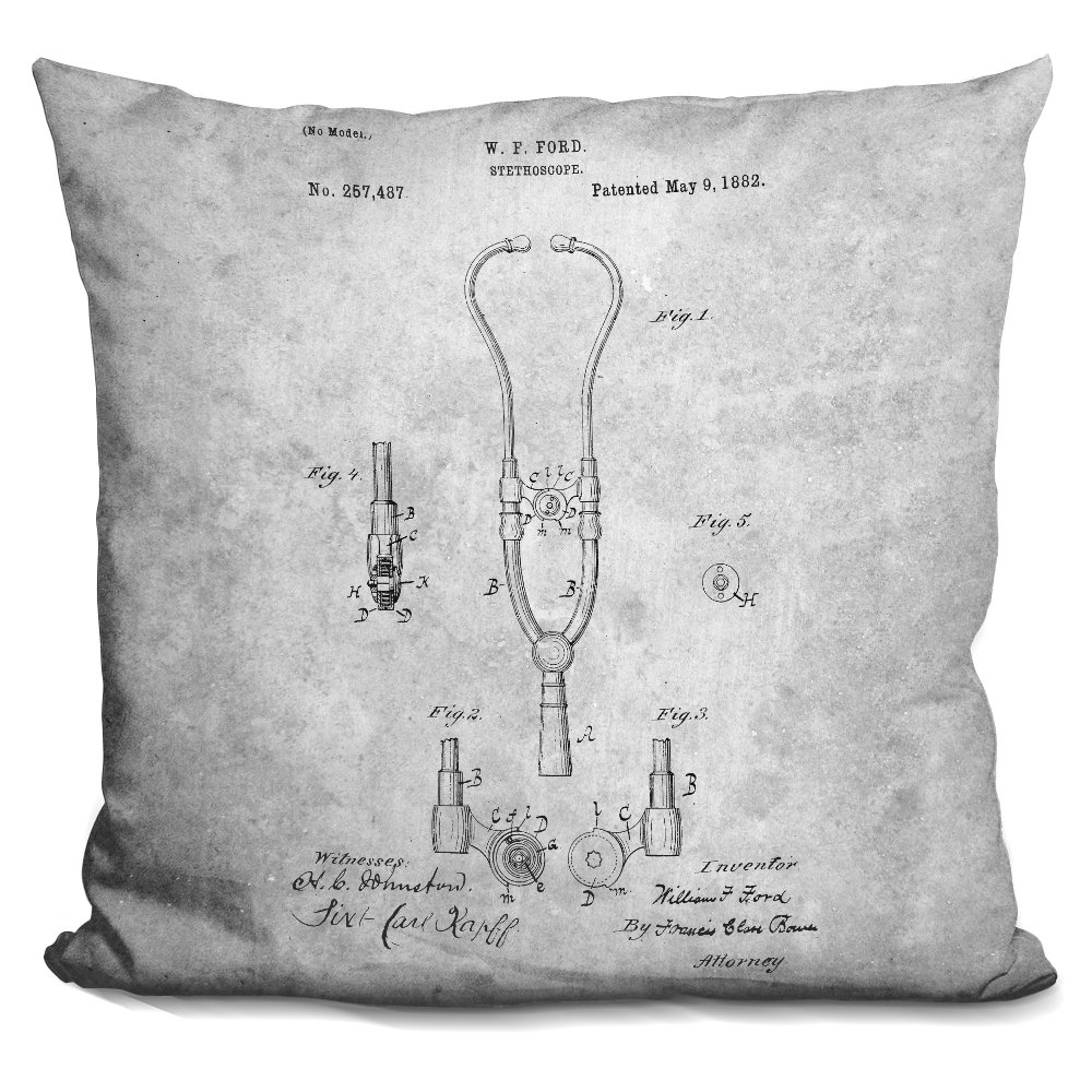 LiLiPi Stethoscope Blueprint Decorative Accent Throw Pillow