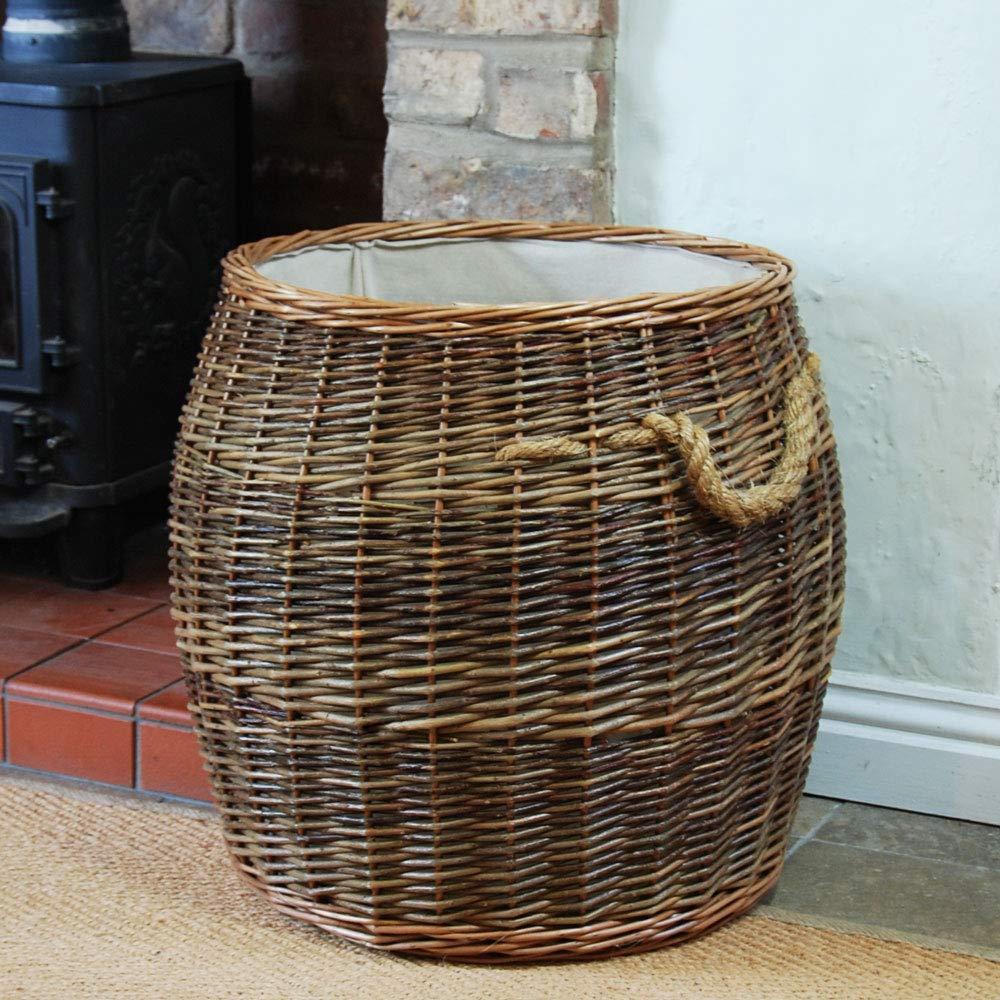 Bowley /& Jackson Large Morpeth barrel traditional brown willow lined log basket