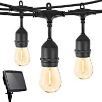 S14 Solar String Lights Outdoor 34Ft Patio Lights with 15 Shatterproof LED Bulbs, Solar & USB Charging with 4 Lighting…