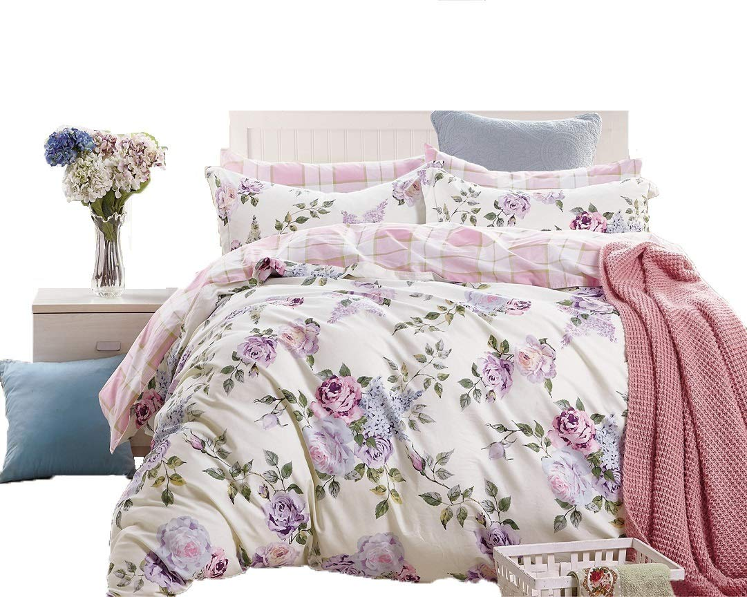 Swanson Beddings Pink-Purple Roses 3-Piece 100% Cotton Bedding Set: Duvet Cover Two Pillow Shams (Queen)