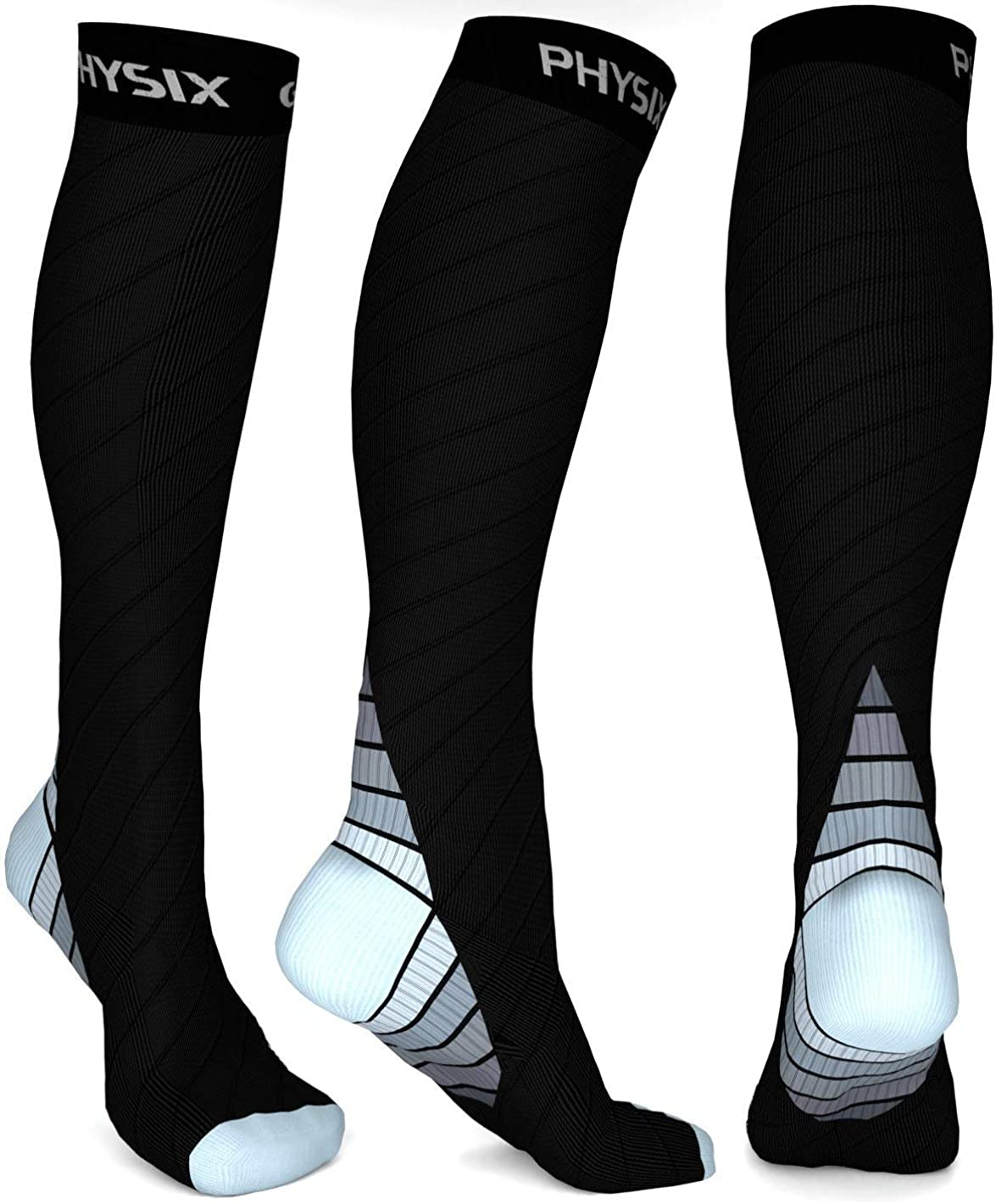 Physix Gear Sport Compression Socks for Men & Women 20-30 mmHg - Athletic Fit: Clothing