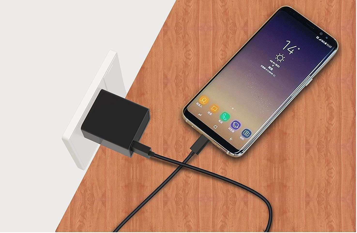 {Car Charger Note 8//Galaxy S8//Galaxy S8 Plus// USB-C Wall Charger 2 Type-C Cable} Fast Charging 80/% faster charging! USB UL-Certified QC 3.0 Kit by Ixir Compatible with Samsung Products