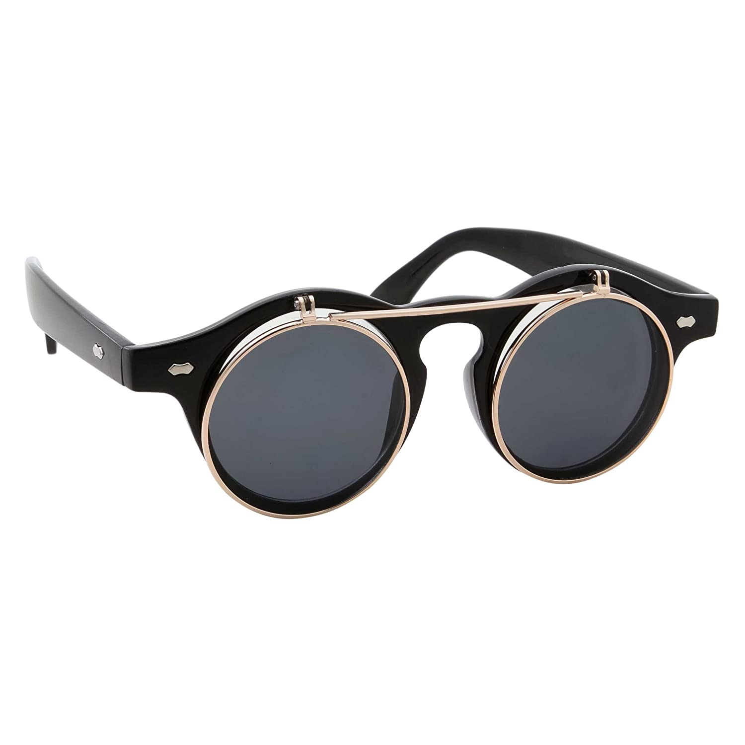 Flip Up Round Punk Sunglasses Steampunk Circle Retro